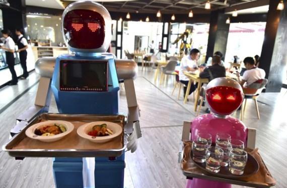 Coppia di robot camerieri