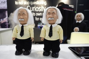 The soon to be released Albert Einstein Robot from Hanson Robotics is displayed at their booth on the showroom floor during the 2017 Consumer Electronic Show (CES) in Las Vegas, Nevada, January 5, 2017. / AFP PHOTO / Frederic J. BROWN